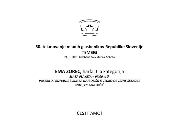 50. tekmovanje mladih glasbenikov Republike Slovenije TEMSIG